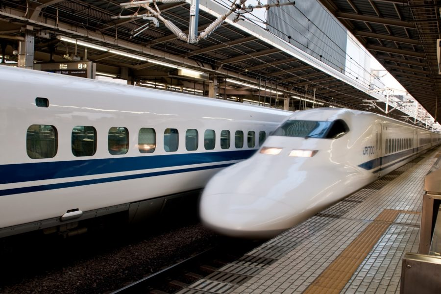 Innovation and high tech are represented by Japanese bullet train